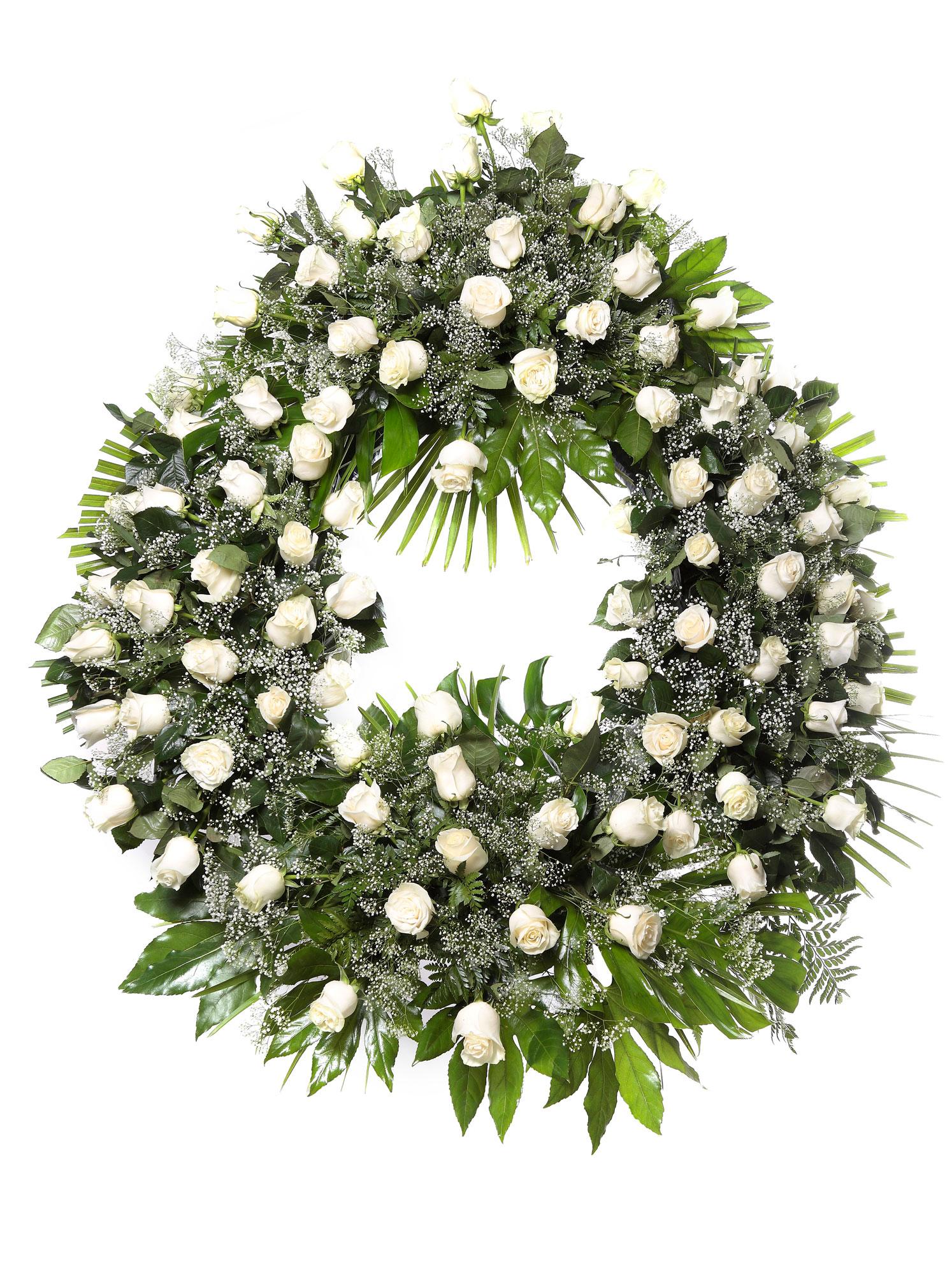 Dos coronas gigantes de rosas promociones los jardines for Tanatorio los jardines carrizo